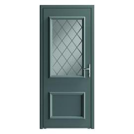 Porte entrée moulurée en aluminium