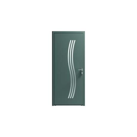Porte entrée aluminium avec vitrages étroits
