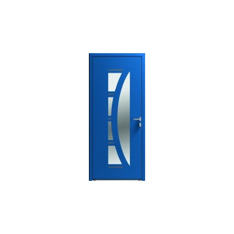 Porte entrée aluminium semi-vitrée et inserts alu
