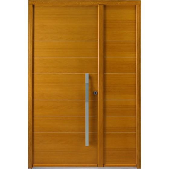 Porte d'entrée pleine en bois