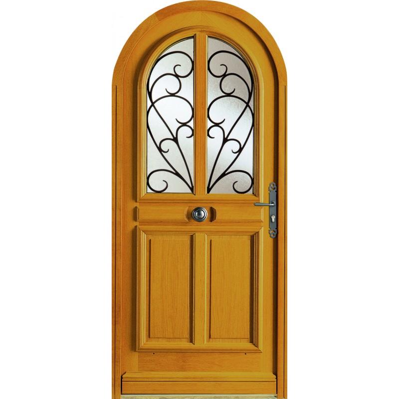 Porte d 39 entr e semi vitr e en bois garantie 10 ans for Entree en bois