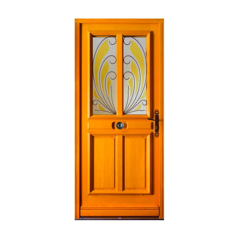 Porte d 39 entr e semi vitr e en bois garantie 10 ans for Porte d entree en bois