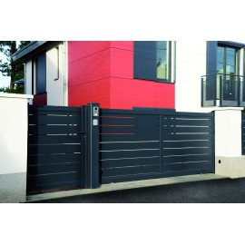 Portail contemporain ajouré en aluminium