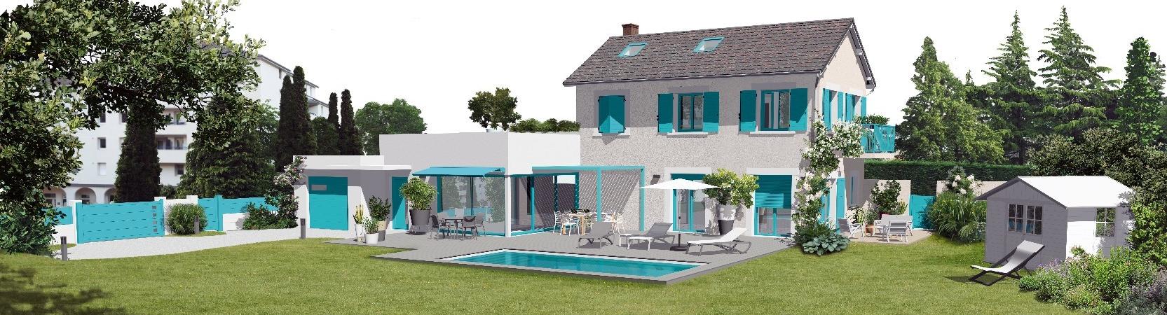 Tous les produits que nous pouvons proposer sont en bleu sur cette maison